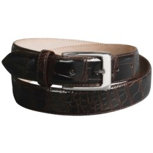 Tardini Polished American Alligator Belt  (For Men) in Dark Brown W/ Silver Buckle - Closeouts