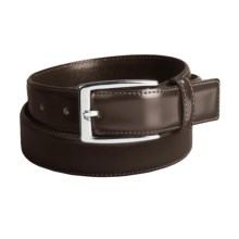 Tardini Polished Dress Belt - Stitched, 30 mm in Brown - Closeouts