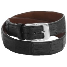 Tardini Satin-Finish Caiman Crocodile Belt (For Men) in Black - Closeouts