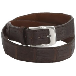Tardini Satin-Finish Caiman Crocodile Belt (For Men) in Chocolate