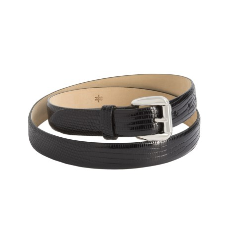 Tardini Shiny Lizard Belt - Nickel Buckle (For Men) in Black/Shiney Nickel Buckle