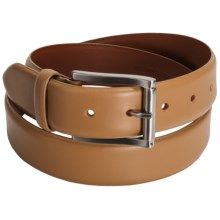 Tardini Smooth Calfskin Leather Belt - Polished Buckle (For Men) in Cognac - Closeouts