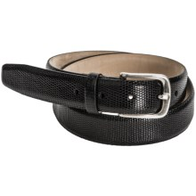 Tardini Smooth Lizard Belt - Silver Buckle (For Men) in Black - Closeouts