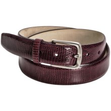 Tardini Smooth Lizard Belt - Silver Buckle (For Men) in Burgundy - Closeouts