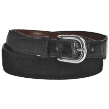 Tardini Suede and Caiman Crocodile Tipped Belt (For Men) in Black - Closeouts