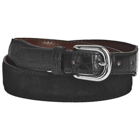 Tardini Suede and Caiman Crocodile Tipped Belt (For Men) in Black