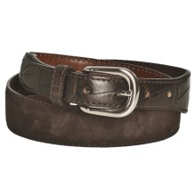 Tardini Suede and Caiman Crocodile Tipped Belt (For Men) in Brown - Closeouts