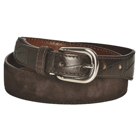 Tardini Suede and Caiman Crocodile Tipped Belt (For Men) in Brown