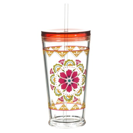 TarHong Carmen Medallion Cup with Lid and Straw - 20 oz. in Red/Multi