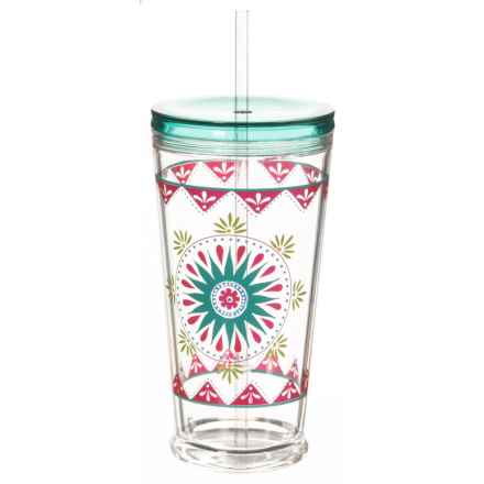 TarHong Carmen Medallion Cup with Lid and Straw - 20 oz. in Turquoise/Multi - Overstock