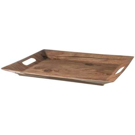 """TarHong Melamine Handled Serving Tray - 14x18"""" in Wood - Overstock"""