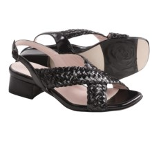 Taryn Rose Orla Woven Sandals - Leather (For Women) in Black Vintage Calf - Closeouts