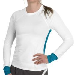 tasc 5K Shirt - Organic Cotton-Viscose, Long Sleeve (For Women) in White/Peacock