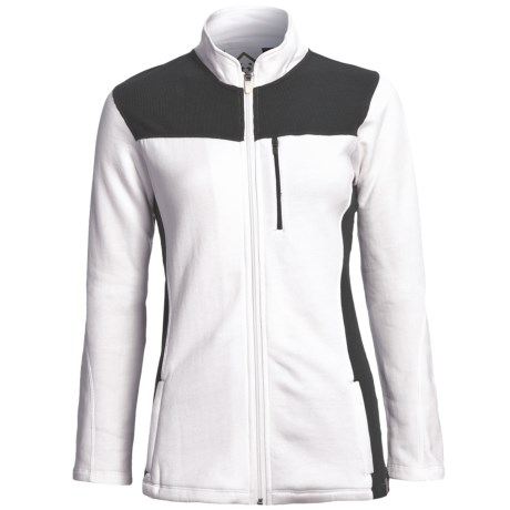 tasc Chamonix Fleece Jacket - UPF 50+, Organic Cotton (For Women) in White/Gunmetal