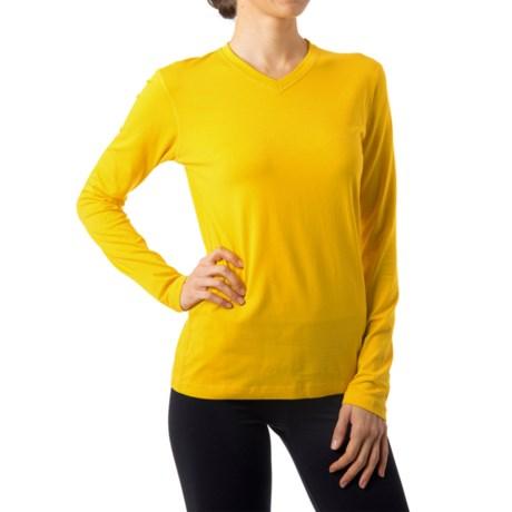Tasc High-Performance V-Neck T-Shirt - UPF 50+, Long Sleeve (For Women) in Honey Lemon