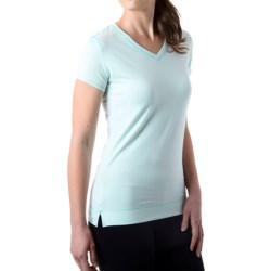 tasc Streets V-Neck T-Shirt - UPF 50+, Short Sleeve (For Women) in Ice Blue