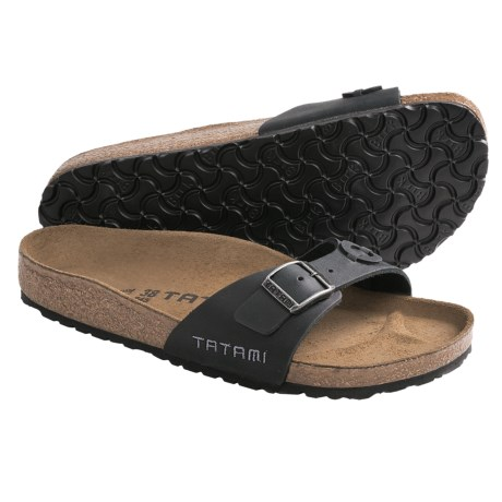Tatami by Birkenstock Madrid Applique Sandals - Oiled Leather (For Women) in Black