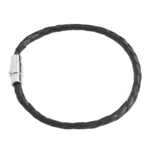Tateossian Braided Italian Leather Bracelet (For Men) in Black Leather/Silver - Closeouts