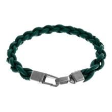 Tateossian Braided Leather Lobster Mykonos Bracelet (For Men) in Green - Closeouts