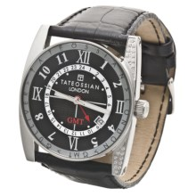 Tateossian Crystal Gulliver GMT Watch - Leather Strap in Black/Black - Closeouts