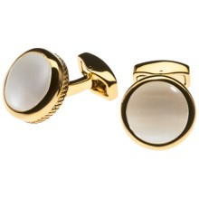 Tateossian Cushion Round Cufflinks - Fibre Optic Glass (For Men) in Yellow Gold/White - Closeouts