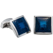 Tateossian Fiber Optic Checker Cufflinks (For Men) in Rhodium/Blue - Closeouts