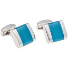 Tateossian Freeway Fiber Optic Glass Cufflinks (For Men) in Rhodium/Blue - Closeouts
