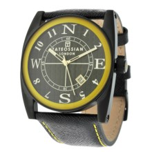 Tateossian Gulliver Colore Watch - Leather Strap (For Men and Women) in Yellow - Closeouts