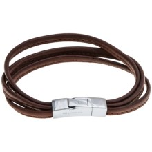 Tateossian Italian Leather Bracelet - Three Strand (For Men) in Brown - Closeouts