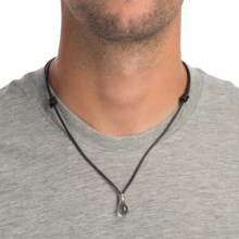 Tateossian Light Bulb Necklace - Leather and Sterling Silver (For Men) in Rock Crystal - Closeouts