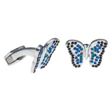 Tateossian Rhodium Themed Cufflinks (For Men) in Butterfly - Closeouts