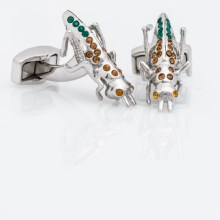 Tateossian Rhodium Themed Cufflinks (For Men) in Grasshopper - Closeouts