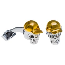 Tateossian Rhodium Themed Cufflinks (For Men) in Hip-Hop Skull - Closeouts