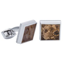 Tateossian Rhodium Turritella Agate Cufflinks (For Men) in Wood Brown Square - Closeouts