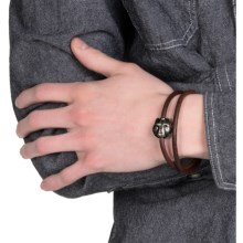 Tateossian Silver and Leather Double-Wrap Bracelet (For Men) in Brown Bear - Closeouts