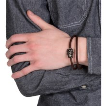 Tateossian Silver and Leather Double-Wrap Bracelet (For Men) in Brown Bull - Closeouts