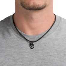 Tateossian Silver and Leather Mini ID Tag Necklace (For Men) in Recycling - Closeouts