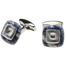 Tateossian Square Aura Cufflinks (For Men) in Silver/Blue - Closeouts