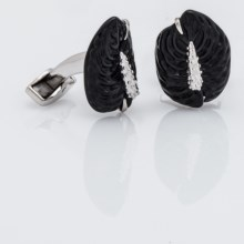 Tateossian Sterling Silver Carved Anthurium Cufflinks (For Men) in Agate - Closeouts
