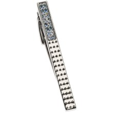 Tateossian Textured Rhodium Tie Clip - Swarovski® Crystals in Silver - Closeouts