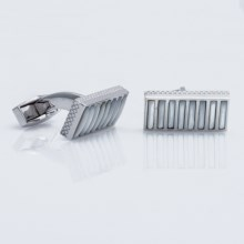 Tateossian Tower Bridge Rectangular Cufflinks - Sterling Silver and Mother-of-Pearl (For Men) in White - Closeouts