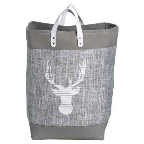Taylor Madison Designs Caribou Fabric Market Tote Bag - Large in Gray/White