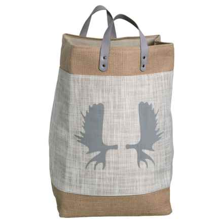Taylor Madison Designs Moose Antlers Market Tote Bag - Large in Cream/Burlap/Gray - Closeouts