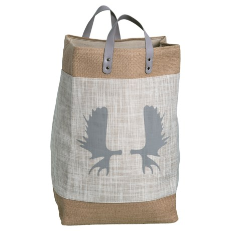 Taylor Madison Designs Moose Antlers Market Tote Bag - Large in Cream/Burlap/Gray