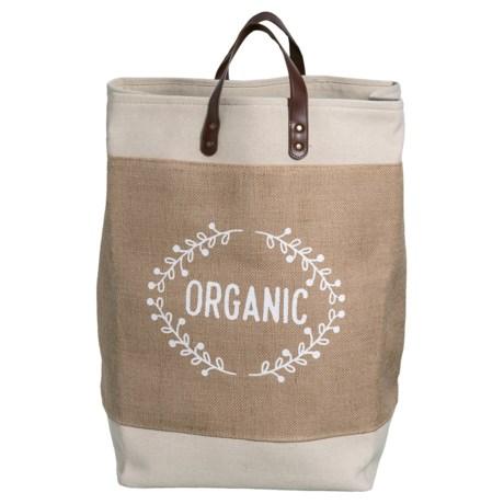 Taylor Madison Designs Organic Wreath Market Tote Bag - Large in Cream/Burlap/White