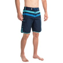 Teal Cove Bryan Scalloped Boardshorts (For Men) in Navy/Bluebird/Cobalt - Closeouts