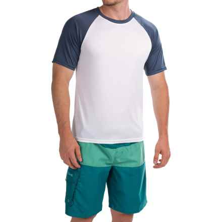 Teal Cove Raglan Rash Guard - UPF 20+, Short Sleeve (For Men) in White/Navy - Closeouts
