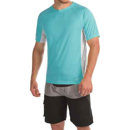 Teal Cove Side Panel Rash Guard - UPF 20+, Short Sleeve (For Men) in Blue Bird/White - Closeouts