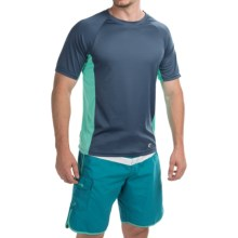 Teal Cove Side Panel Rash Guard - UPF 20+, Short Sleeve (For Men) in Navy/Aqua - Closeouts