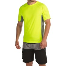 Teal Cove Side Panel Rash Guard - UPF 20+, Short Sleeve (For Men) in Neon Lemon/Slate - Closeouts